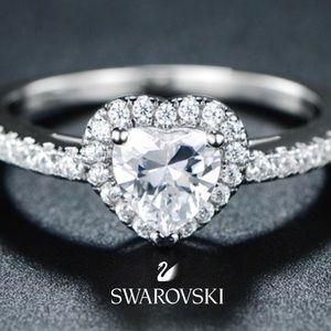 Barzel Heart Cut Swarovski Crystal Ring